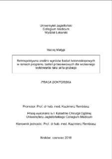 Retrospective analysis of colorectal cancer screening colonoscopies
