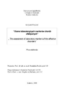 Ocena laboratoryjnych markerów chorób afektywnych