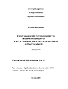 Evaluation of physicochemical properties and pharmacokinetics of new compounds, derivatives of anthracycline antibiotics