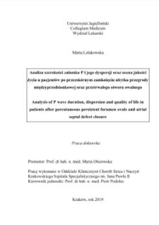 Analiza szerokości załamka P i jego dyspersji oraz ocena jakości życia u pacjentów po przezskórnym zamknięciu ubytku przegrody międzyprzedsionkowej oraz przetrwałego otworu owalnego