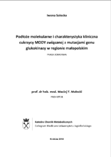 Molecular background and clinical characteristic of MODY diabetes related to the mutation of glucokinase gene i Malopolska Region