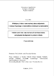 Visfatin and Irisin - new markers of nutritional status and physical development in preterm infants