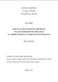 Wpływ zanieczyszczenia powietrza pyłami zawieszonymi PM10 i PM2,5 na zdrowie dorosłych mieszkańców Krakowa